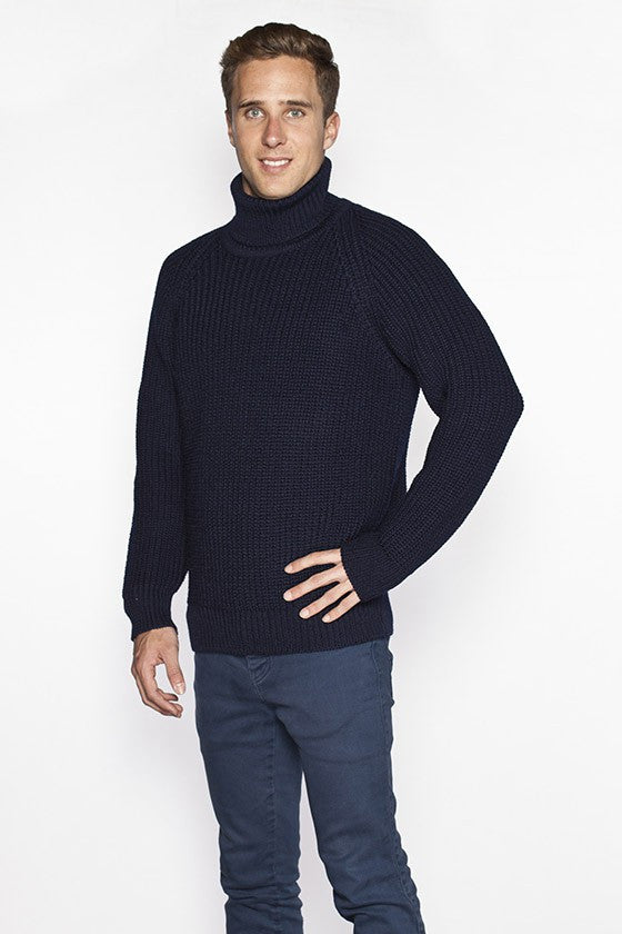 Men's Turtleneck Fishermans Sweater - Navy