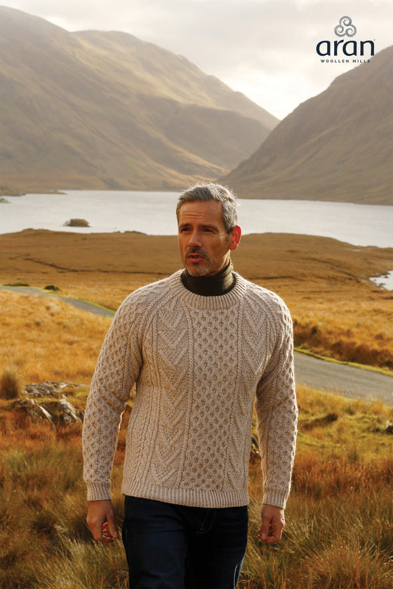 Men's Handknit Aran Crew Neck Sweater in Honeyoat