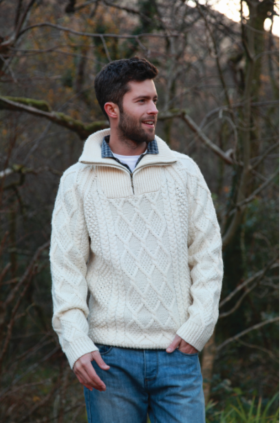 Men's Troyer Collar Sweater - Natural