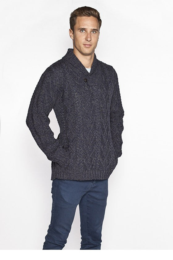 Men's Merino Shawl Collar Sweater - Cormorant Blue