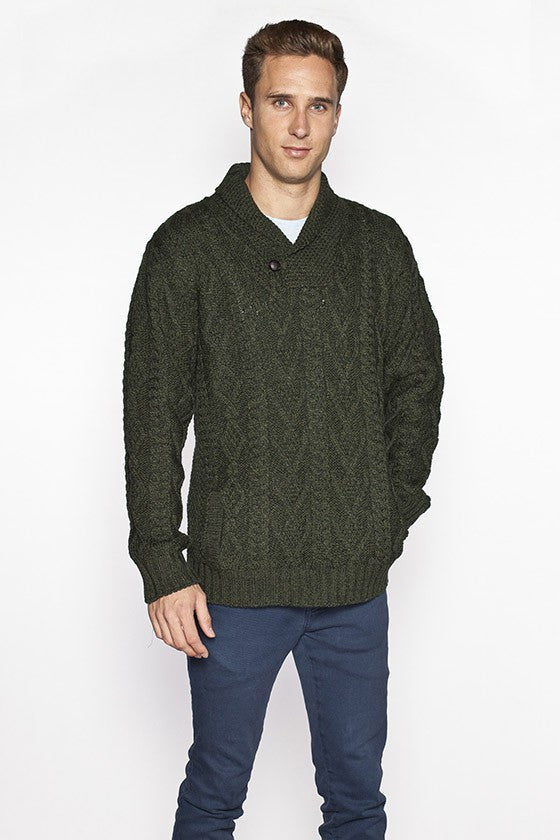 Men's Merino Shawl Collar Sweater - Army Green