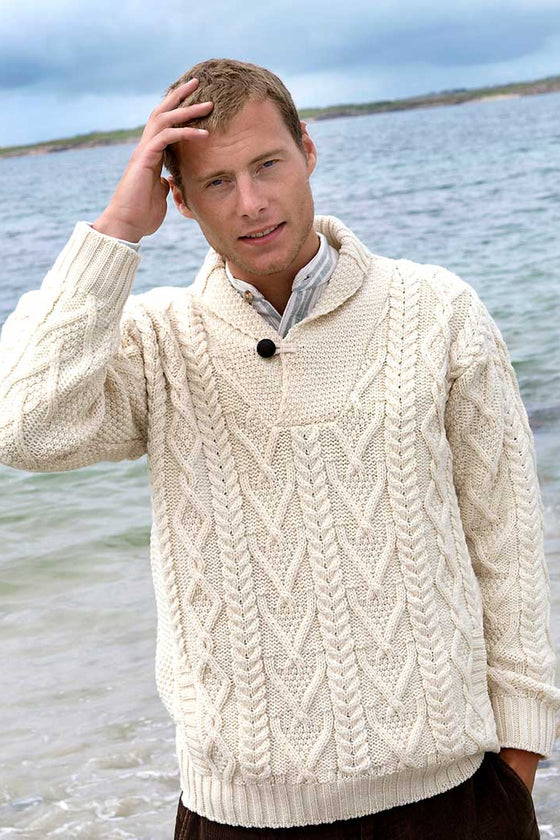 Men's Merino Shawl Collar Sweater - Natural
