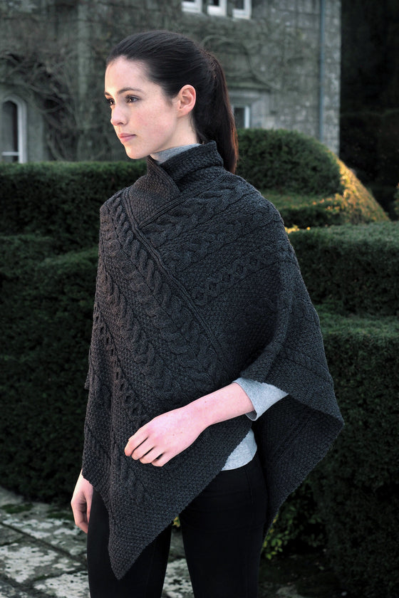 Women's Aran Cape - Charcoal Grey