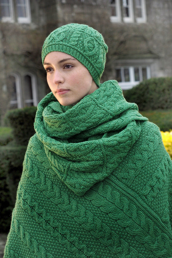 Women's Aran Cape - Marl Green