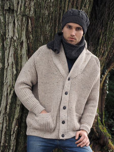 Men's Ribbed Shawl Merino Wool Cardigan - Oatmeal