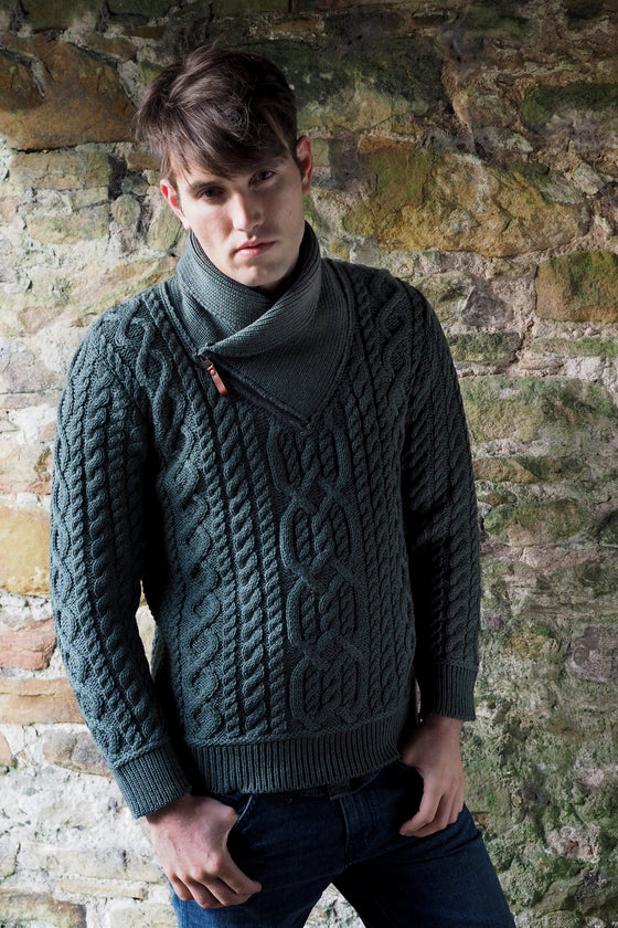 Men's Shawl Neck Sweater - Green