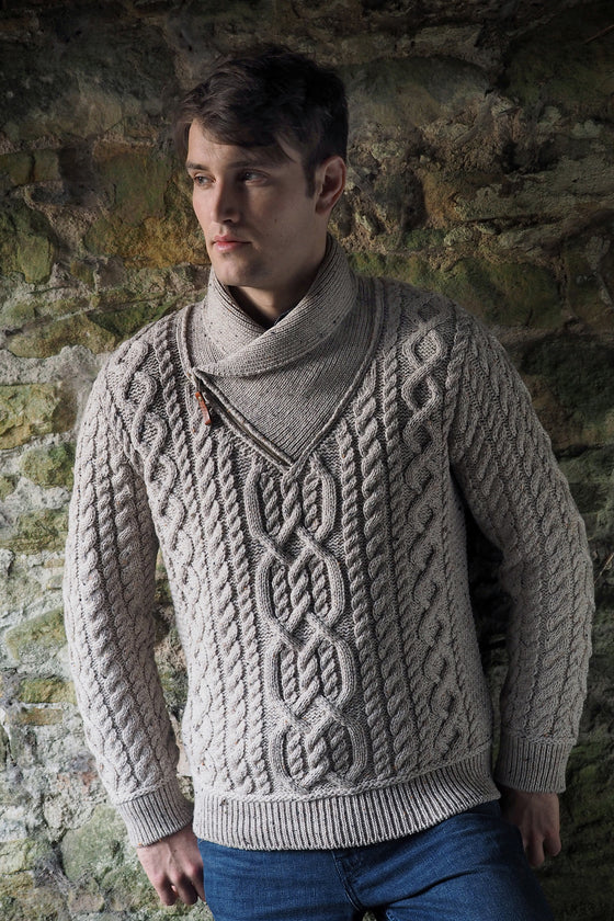 Men's Shawl Neck Sweater - Oatmeal