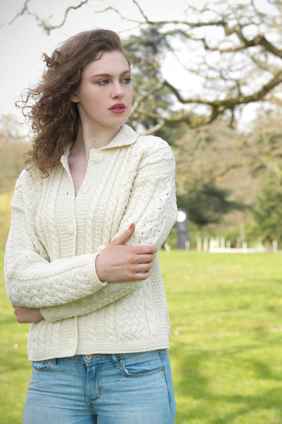 Women's Cable Knit Cardigan Sweater - Natural