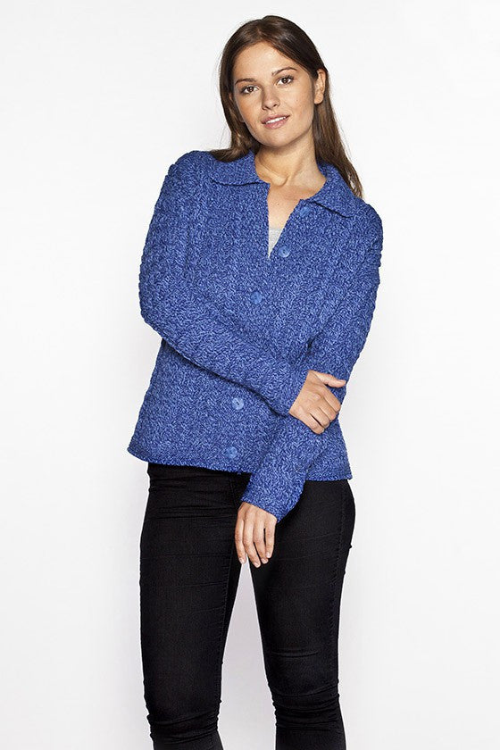 Women's Cable Knit Cardigan Sweater - Marl Blue
