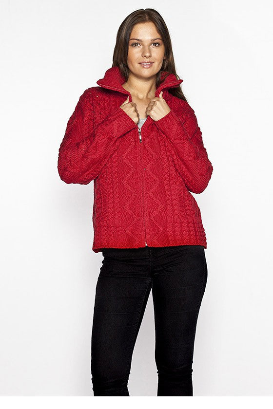 Women's Turtleneck Zip Sweater - Cherry