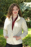 Women's Turtleneck Zip Sweater - Natural