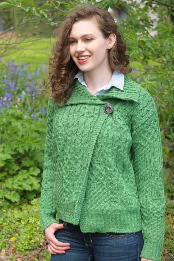 One Button Aran Wool Cardigan - Green