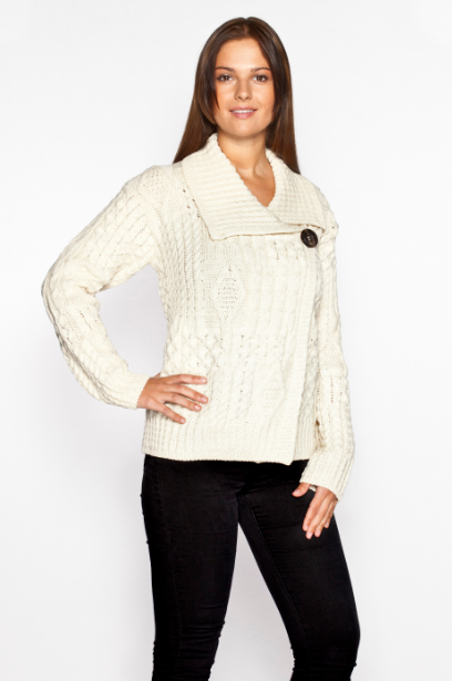 One Button Aran Wool Cardigan - Natural