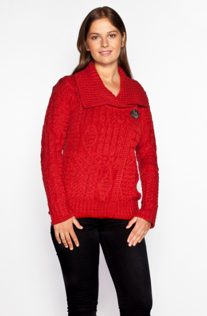 One Button Aran Wool Cardigan - Red