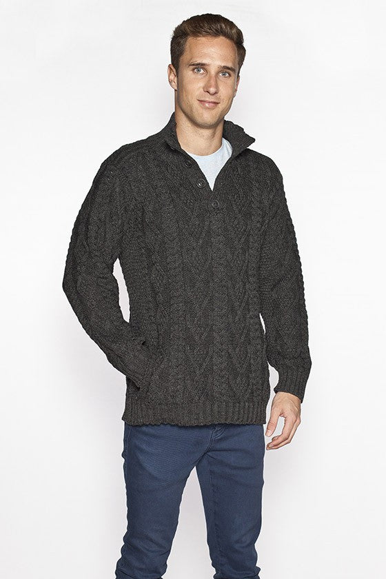 Men's Chunky Button Top Aran Sweater - Charcoal Grey