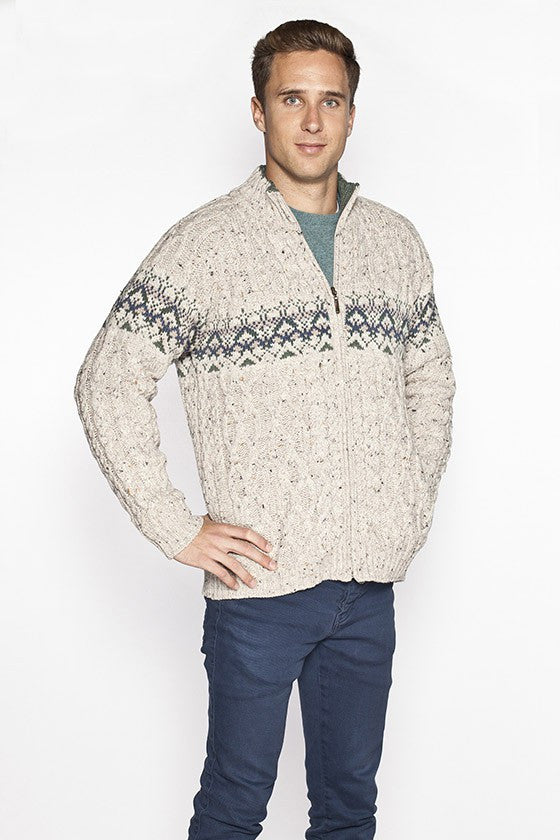 Men's Fair Isle Zip Cardigan - Oatmeal