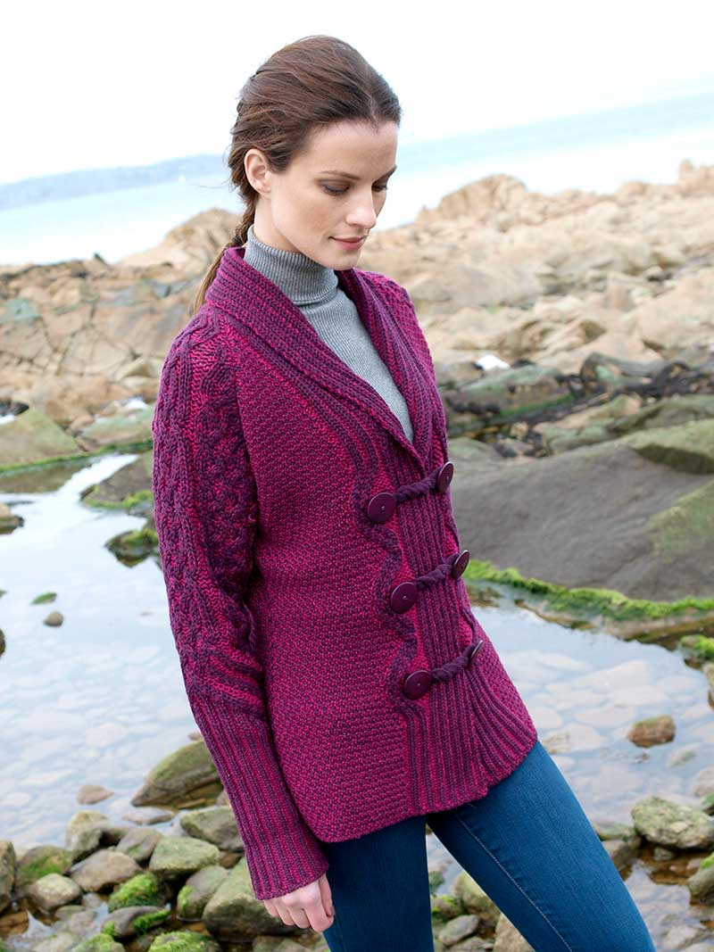 Women's Button Shawl Cardigan - Raspberry