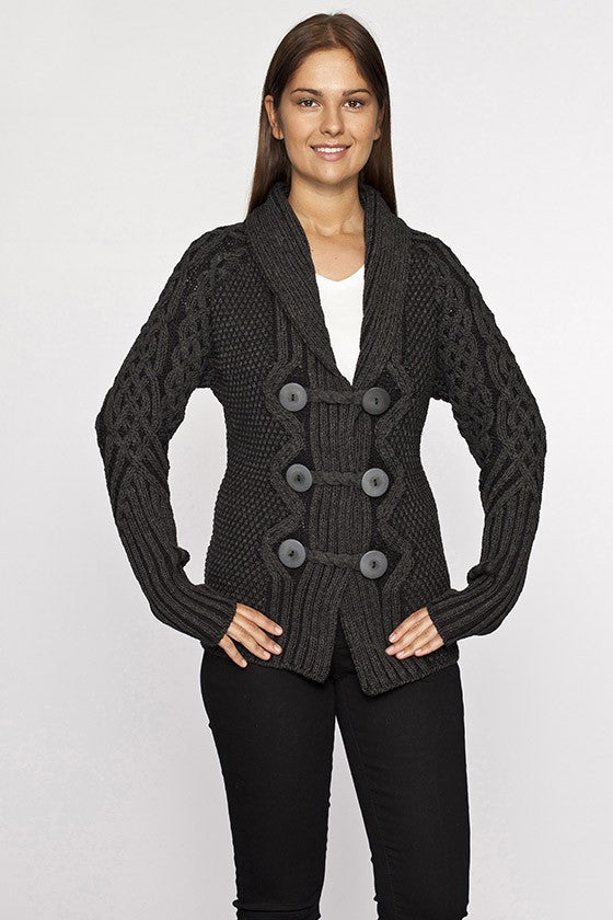 Women's Button Shawl Cardigan - Charcoal Grey