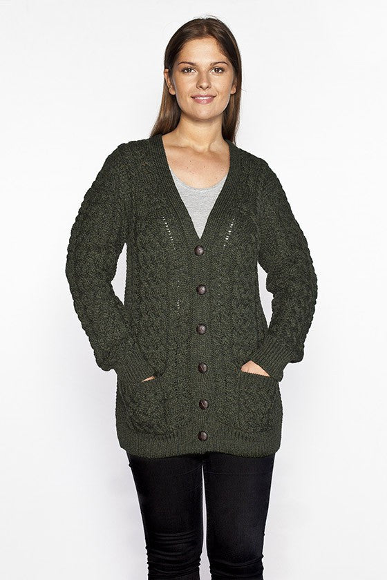 Women's V Neck Aran Cardigan - Army Green
