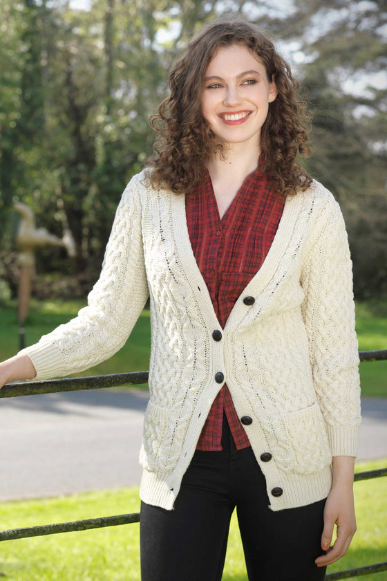 Women's V Neck Aran Cardigan