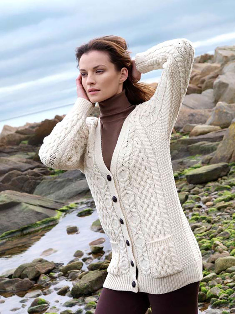 Aran Cardigan - Natural with v-neck