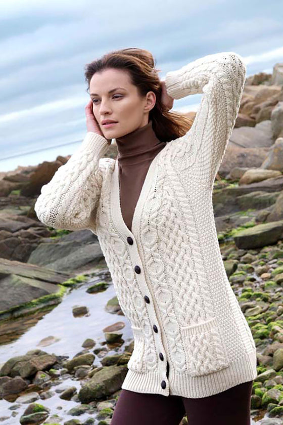 Women's V Neck Aran Cardigan - Natural