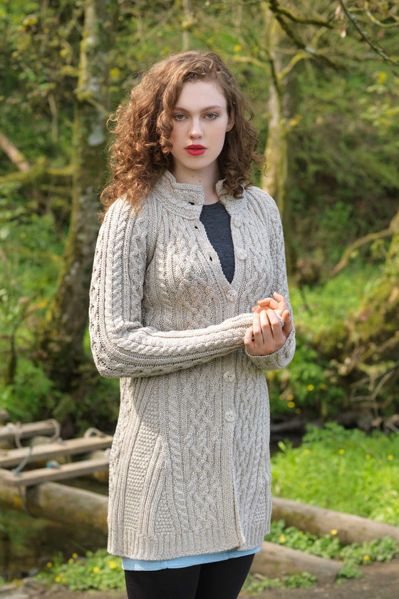 Women's Long Button Celtic Sweater - Oatmeal