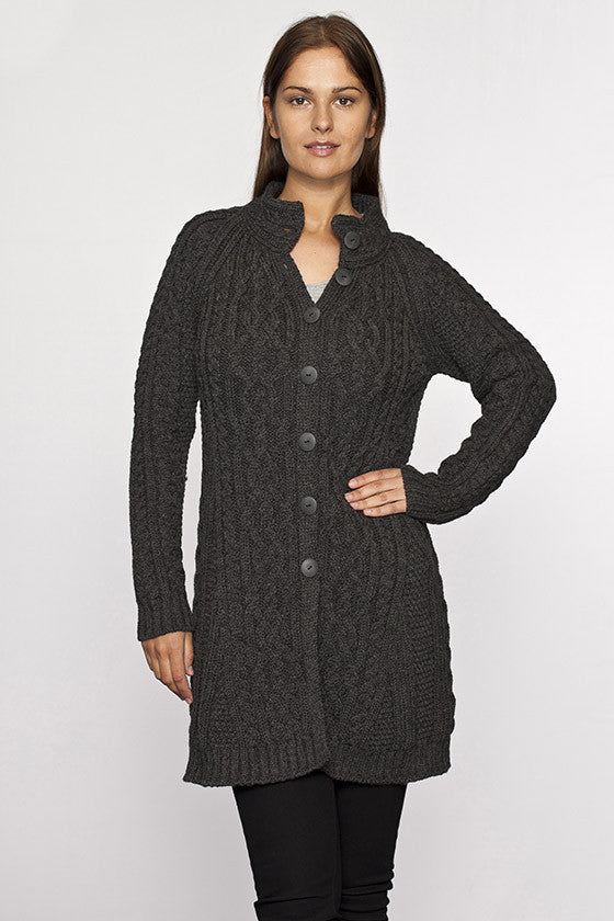 Women's Long Button Celtic Sweater - Charcoal Grey