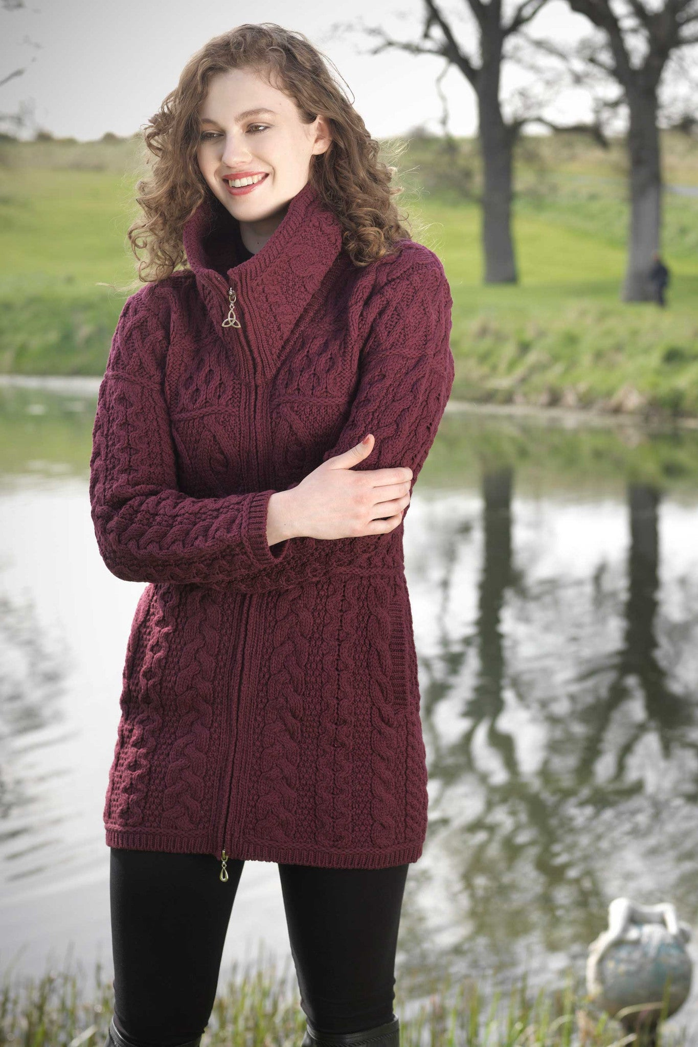 Women's Cable Knit Sweater Coat - Wine