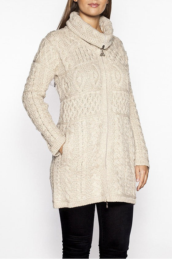 Ladies Cable Knit Sweater Coat Aran Sweaters Direct