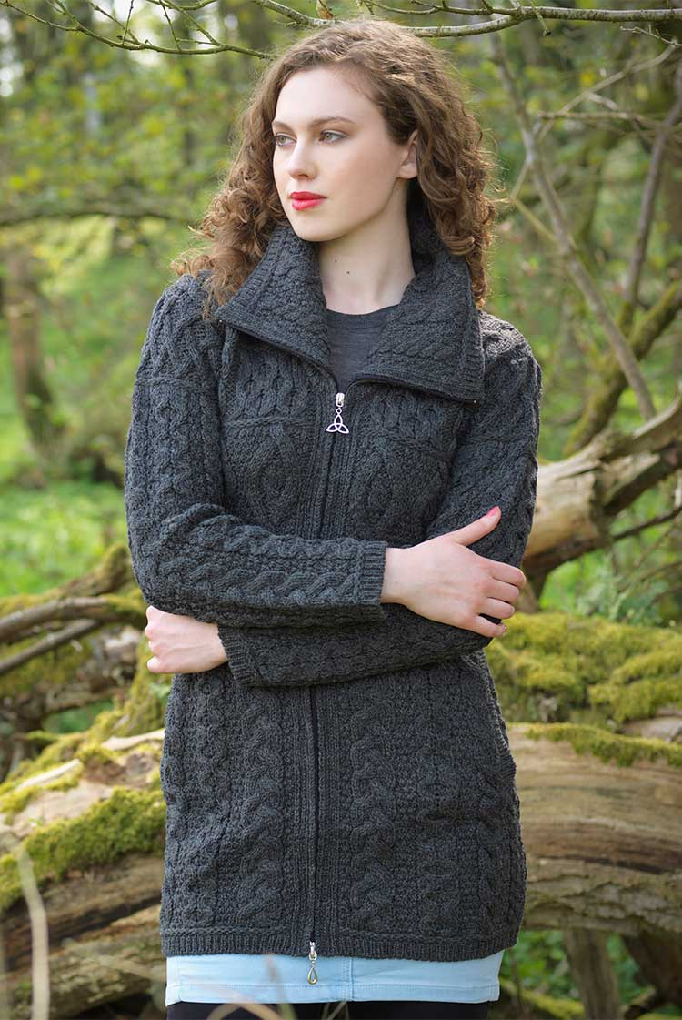 Women's Cable Knit Sweater Coat - Charcoal Grey