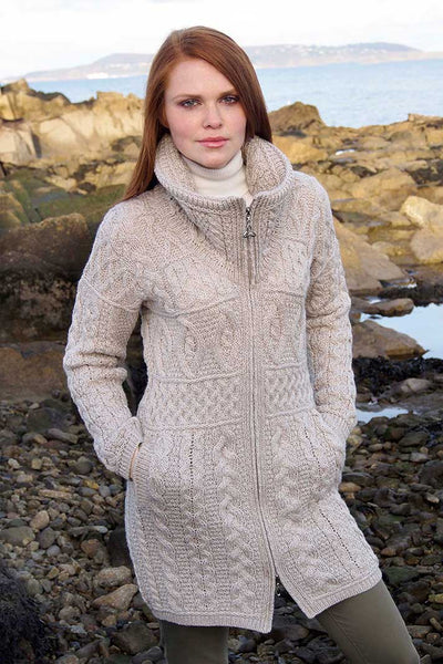 Women's Cable Knit Sweater Coat - Parsnip