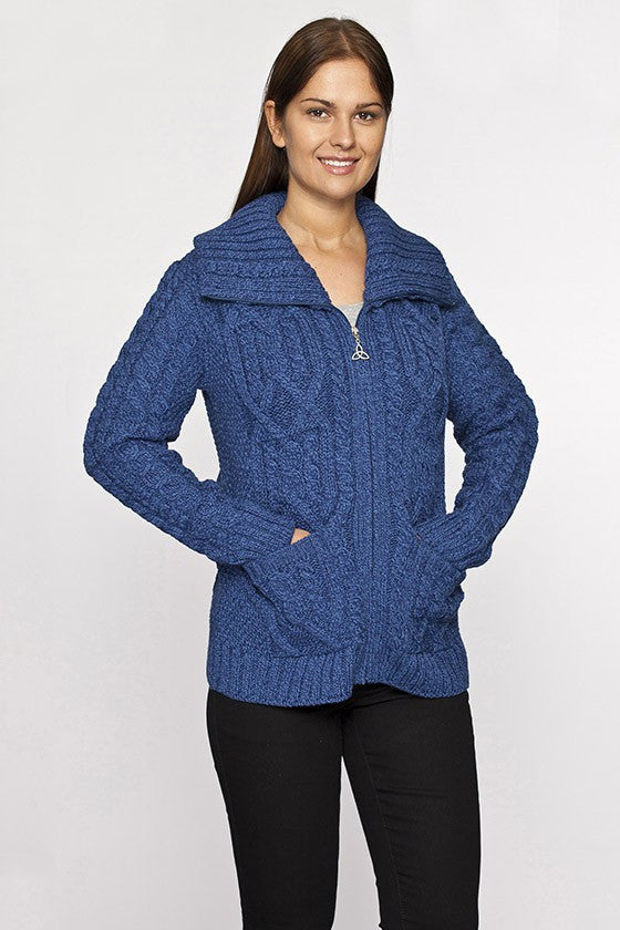 Women's Zip Collar Cable Knit Sweater - Marl Blue