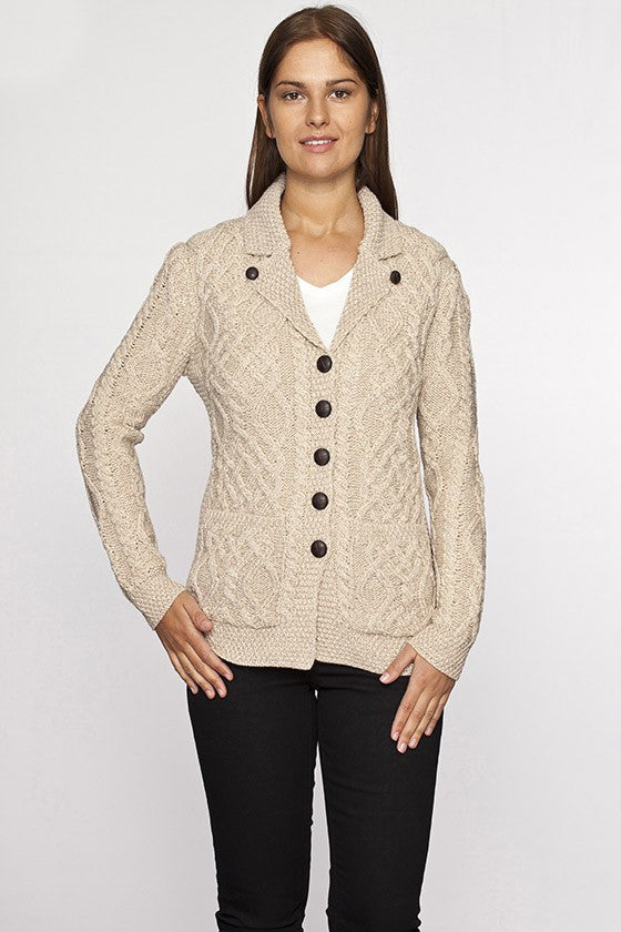 Ladies Cable Knit Button Sweater - Aran Sweaters Direct 08e2829c8