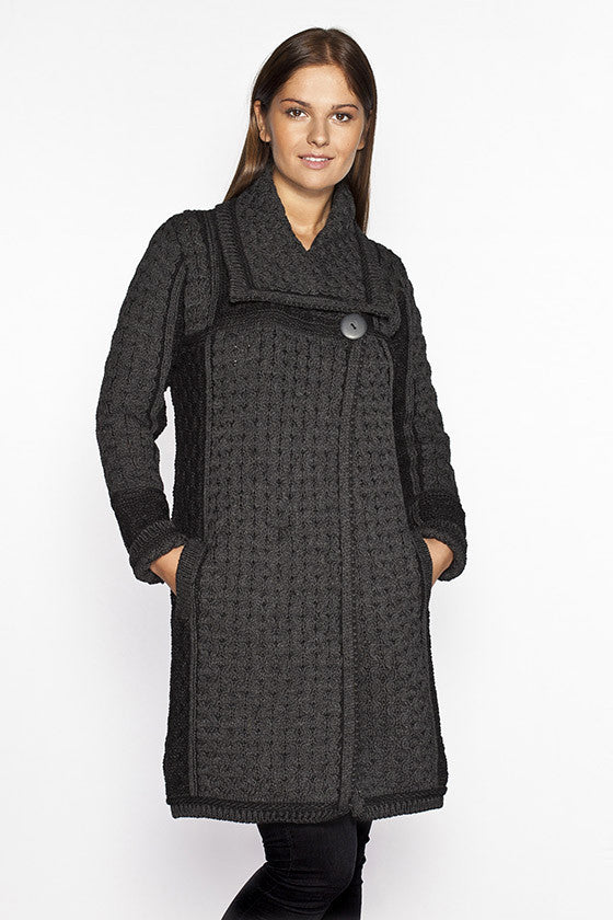 Women's Honeycomb Knit Long Sweater Coat - Charcoal Grey