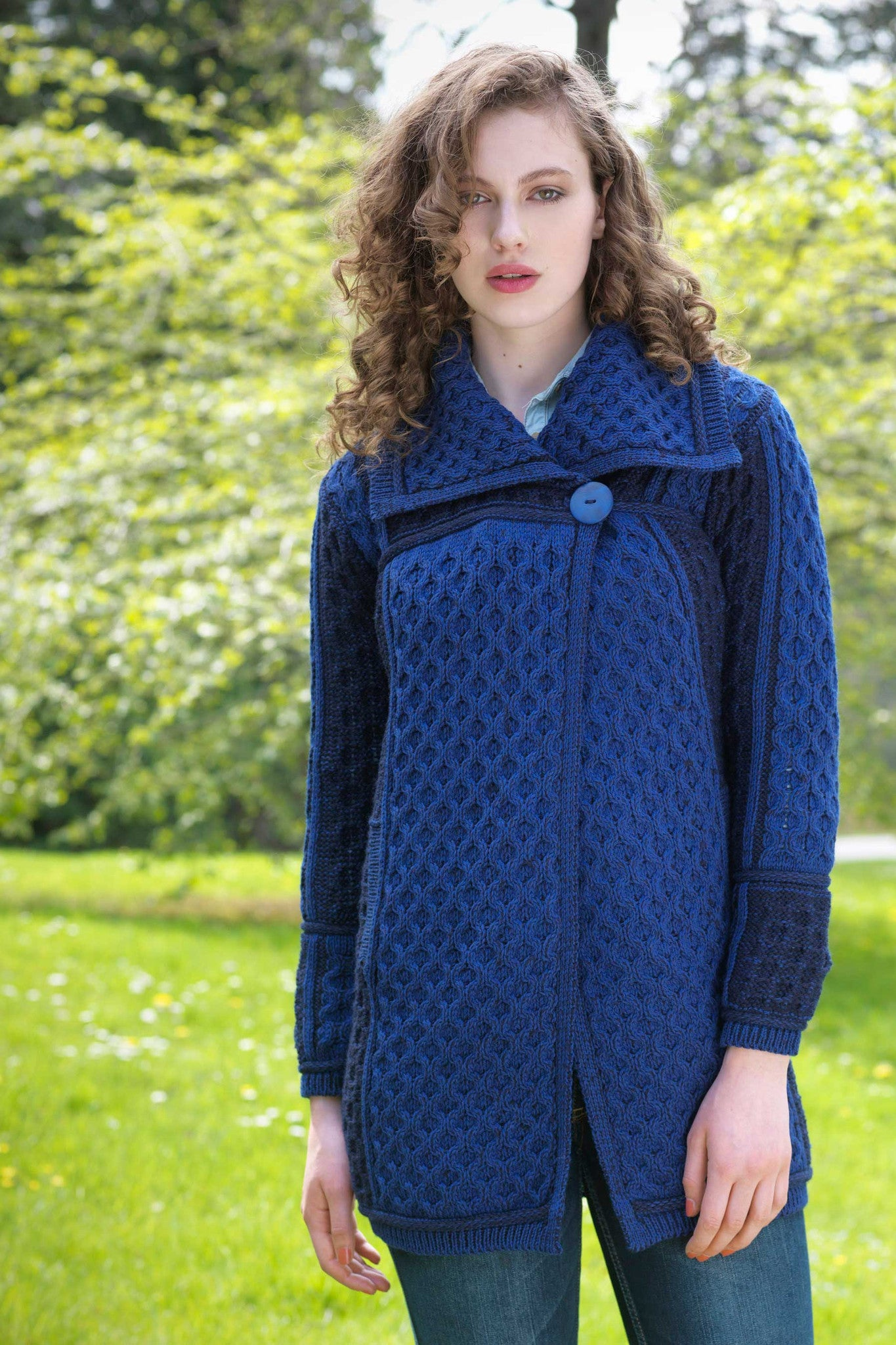 Women\u0027s Honeycomb Knit Long Sweater Coat , Blue