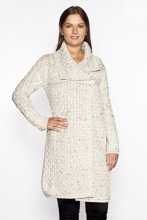Women's Honeycomb Knit Long Sweater Coat - Oatmeal