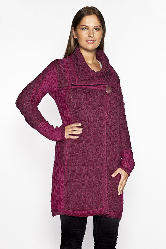 Women's Honeycomb Knit Long Sweater Coat - Wine Mix