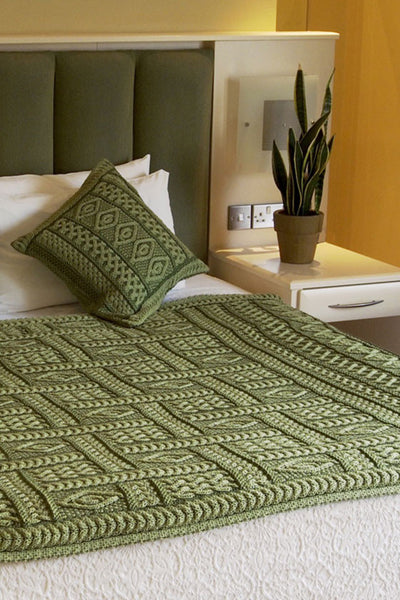 Aran Plated Cushion Cover - Green