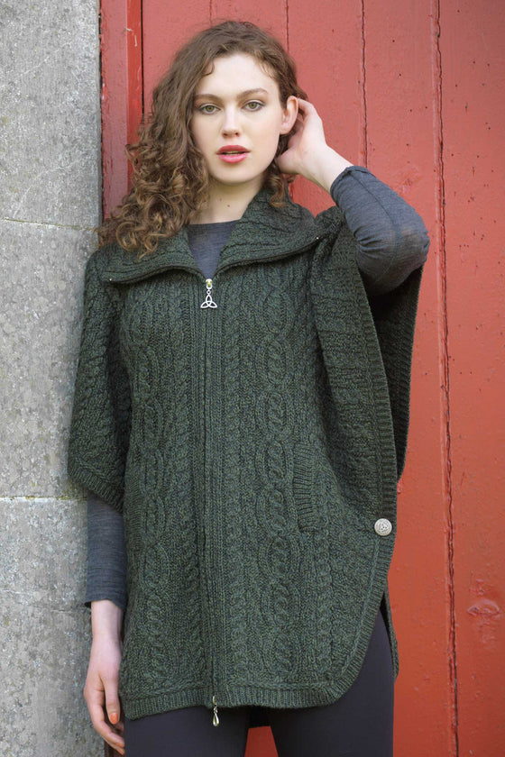 Women's Aran Funnel Neck Jacket - Army Green