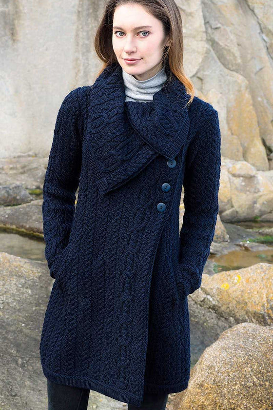 Women's Chunky Collar Aran Coat - Navy