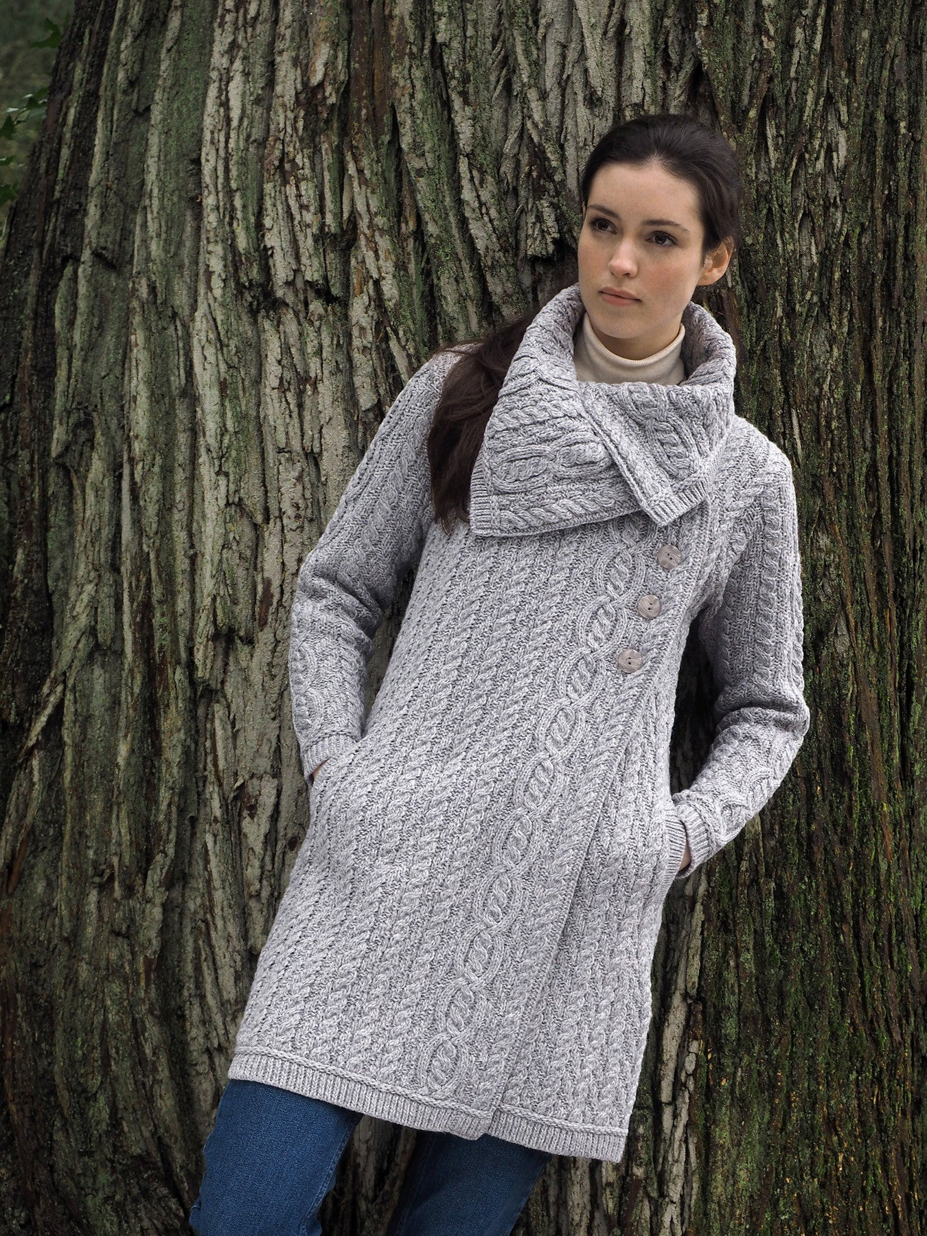Women's Chunky Collar Aran Coat - Soft Grey