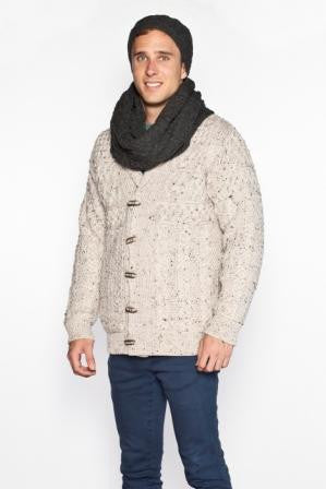 Aran Patchwork Snood - Charcoal Grey