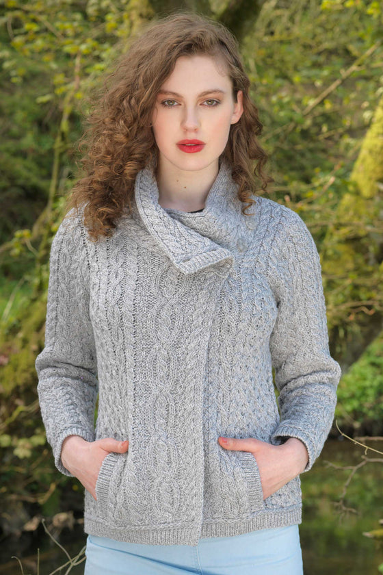 Women's Three Button Aran Jacket -Soft Grey