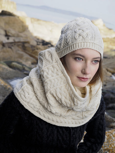 Aran Patchwork Snood - Natural