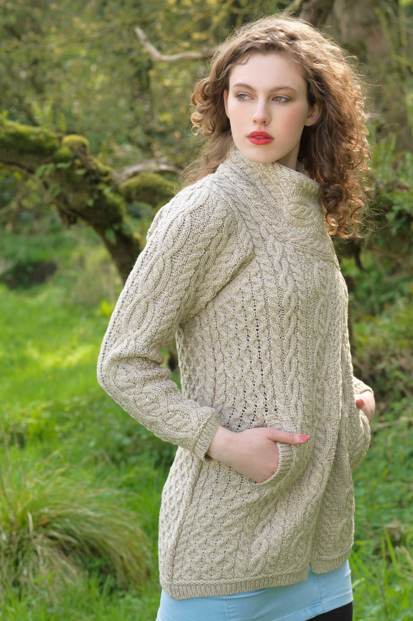 Women's Three Button Aran Coat - Parsnip