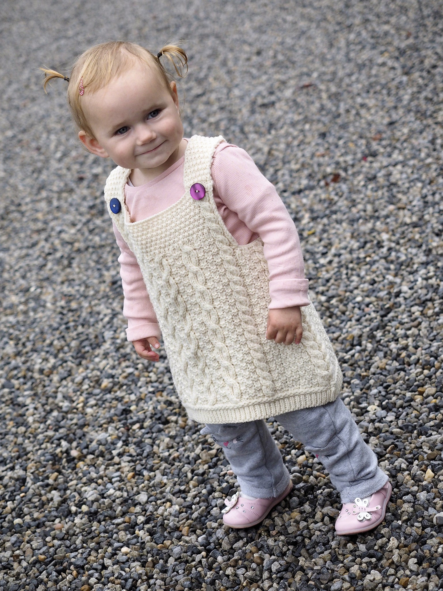 Traditional Baby Aran Pinafore