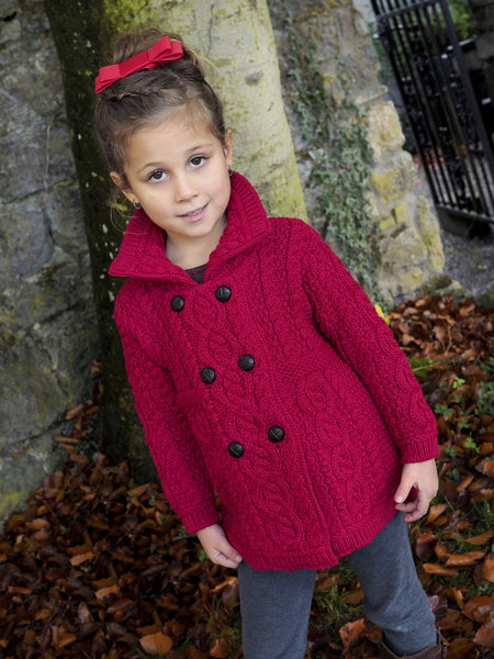 Girls Double Breasted Coat - Garnet