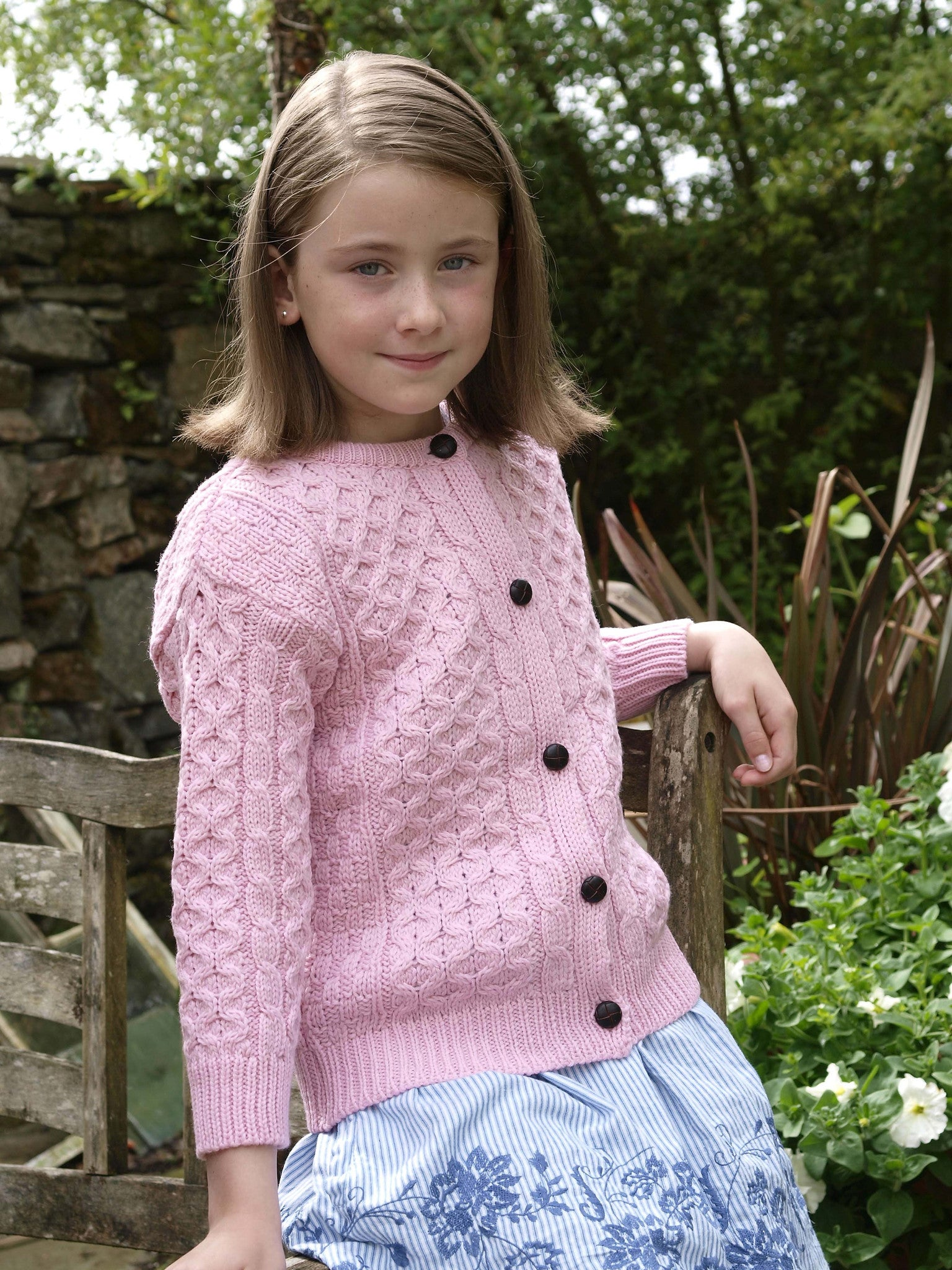 Kids Wool Crew Neck Cardigan - Pink
