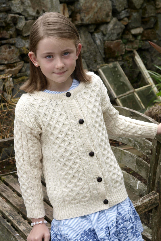 Kids Wool Crew Neck Cardigan - Natural